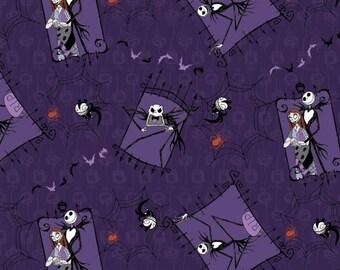 CLEARANCE Nightmare Before Christmas Fabric Couple Jack Tim Burton Film Jack Skellington Cotton Fabric