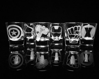 The Avengers- Shot Glasses - Set of 6- Iron Man- Captain America- Thor- Hulk- Hawkeye- Black Widow- Marvel