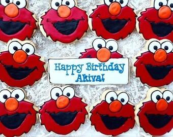 Sesame Street Elmo Birthday Favor Custom Cookies