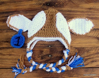 Crochet Brown/White Cow Earflap Hat - Size 0-3 Months