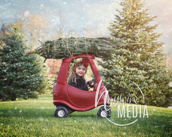 Holiday Christmas Tree Little Car Children's Portrait Outside for Photographers - Digital Backdrop