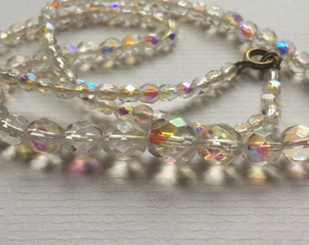 Vintage Clear Glass Aurora Borealis Ball Shape Faceted Graduated Bead Choker Necklace/1960s