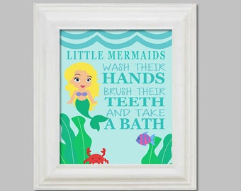 Mermaid Bathroom Art Print - Digital Download - WASH - BRUSH - BATH - Little Mermaids