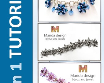 """Tutorial 3 in 1 """"Chilliflower"""" (2 bracelets and 1 necklace)"""