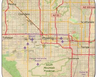 Phoenix 2 Vintage Map Coasters
