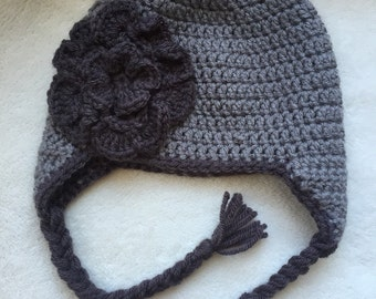 Girls Winter Hat with Flower Accent // infant. toddler. child.