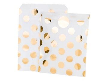 8 x Gold Metallic Dotty Treat Bag, Goody Bag, Gold Foil Treat Bag, Baby Shower Gift Bag, Wedding Favour Bag