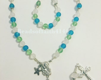 Sea Glass Frosted Rosary Beads