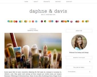 "Blogger Template, Blog Template, Mobile Responsive - ""Daphne | by Lindsey"" Instant Digital Download"