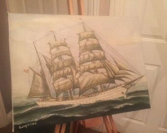 Oil Painting Of A Ship On Canvas Unframed