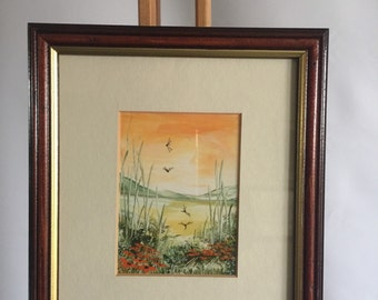Original Wax Painting by Clare Allen of Dragonflies dancing over a Meadow