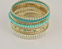 Turquoise Aqua Gold set pack of 8 metal rope twist skinny bangle bracelet shiny faux pearl bead beaded stack stackable twisted