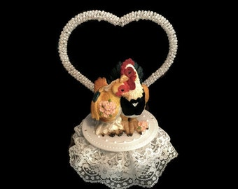 Chicken Wedding Cake Topper- Animal Wedding Cake Topper- Farm Theme- Mr and Mrs- Bride and Groom- Western Wedding- Hen and Rooster