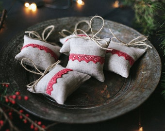 Linen lavender bag with red lace/ Light Grey lavender bag / Christmas gift / Lavender bag / Lavender Gift /  Home Decor /