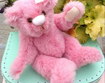 "OOAK, miniature, artist bear, pink, mohair, 7"", embroidered, Botany Bear"