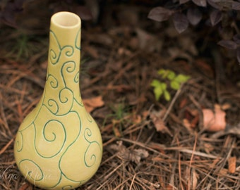 Vase Glazed in Chartreuse and Hand Carved with Scrolls in Blue