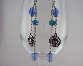 Ice Blue Glass & Cerulean Crystal Dangles