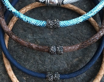Snakeskin Choker with Pave Rhinestone Magnetic Clasp