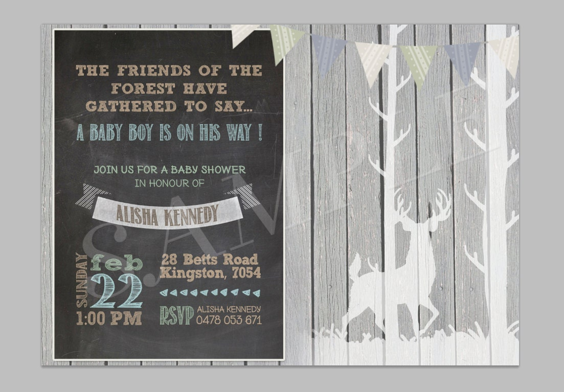 baby shower woodland theme invitation baby shower invitation