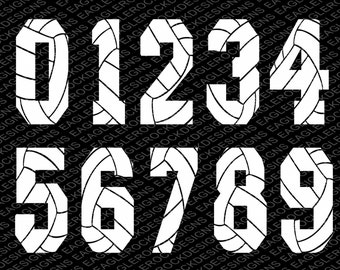 Volleyball Numbers SVG DXF EPS Cut File for Cameo and Cricut, Volleyball Svg, Numbers Svg, Instant Download