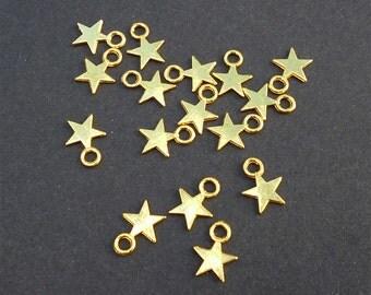 50-250 Gold Tone Little Star Charms Pendants 9 x 11mm Nickel Lead Cadmium Free