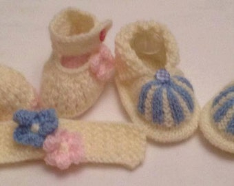 Baby Knitting patterns Wide strap Mary Janes with Flower matching Hairband Cuffed Boots 0-3 and 0-6mths