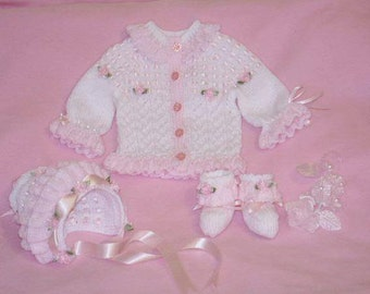 Knitting pattern ref:11 0-3mths cardi, bonnet and matching booties