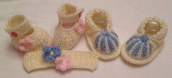 Baby Knitting pattern Wide strap Mary Janes with Flower matching Hairband and Cuffed Boots 0-3 and 0-6mths