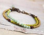 Amazonite bracelet. Dainty gemstone bracelet. Lime green jewelry. Solid brass bead bracelet. Aqua bracelet. Pale aqua jewelry Ooak jewelry