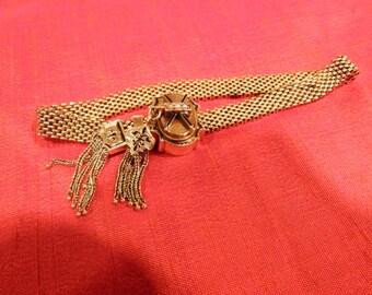 Victorian Gold and Enamel Slide Mesh Bracelet- Antique- 10k-26.4 gr
