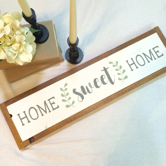 Home sweet home long framed wooden sign farmhouse decor - Home sweet home decorative accessories ...