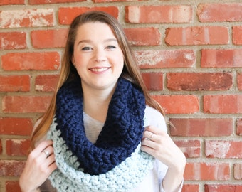 Two Toned Chunky Crochet Cowl - Navy & Glacier - The Siewart Cowl