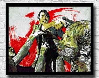 Glenn Rhee Comic Painting Digital Art Print, The Walking Dead