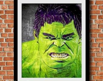 Hulk Comic Ink Digital Painting Print, Marvel Superheroes