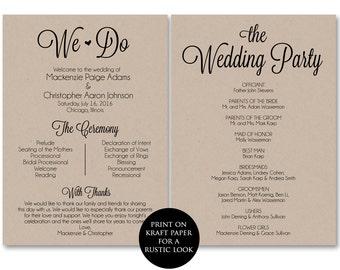 Ceremony Program Template, Wedding Program Printable, We Do, Wedding Printable Template, PDF Instant Download, Ceremony Programs, DIY, WSET3