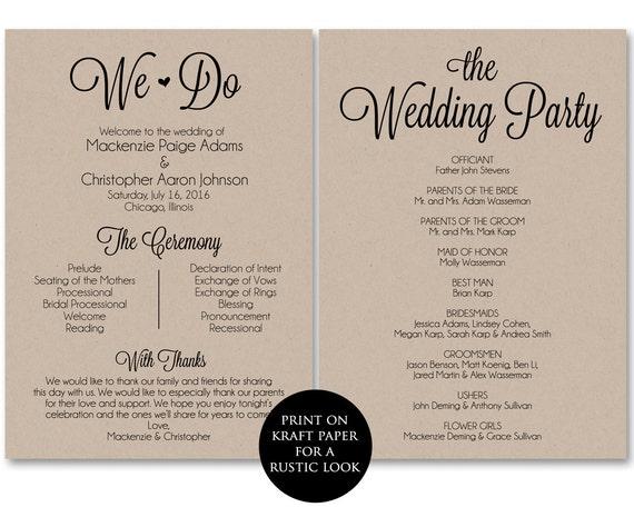 ceremony program template wedding program printable we do. Black Bedroom Furniture Sets. Home Design Ideas