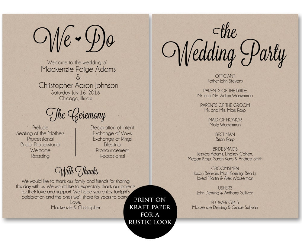 Satisfactory image with regard to printable wedding program