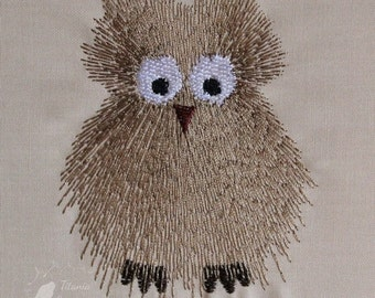 Primitive Owl Machine Embroidery Design Pattern Two sizes included 4x4 5x7  by Titania Creations Instant Download.