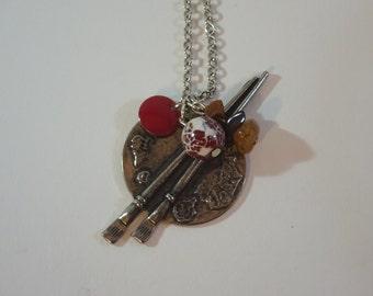 Nashira - Silver brown and dark pink long necklace