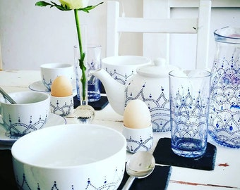 Beautiful handpainted breakfast set for two - Elegant contemporary design in deep sapphire blue