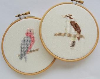 cross stitch birds. Two-pattern set.  Laughing kookaburra cross stitch pattern. galah cross stitch patterns. Australian birds.