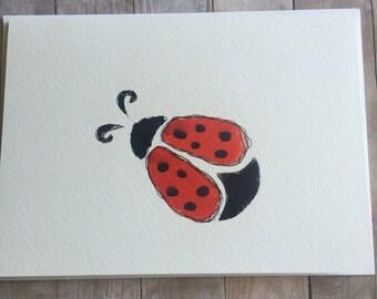 Ladybug Card, Hand Painted Ladybug Card, Lady Bug Stationary, Lady Bug Note Card