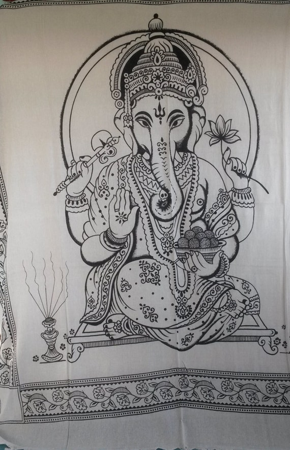 Black and White Elephant Ganesh Indian Throw Wall Hanging Tapastry Double/King Size Bohemian Hippy Hippie