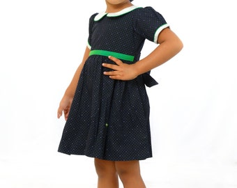 Dark blue with white and green print frock