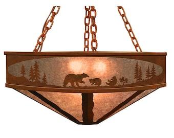 "Multiple Options Bear, Deer, Elk, Moose & Buffalo animal Life Chandelier 24"" and 36"" Diameter Laser Cut Rustic light Fixture"