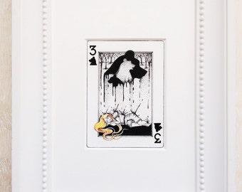 "Goldilocks Art Print, Fairy tale Art Print,Playing Card Art, ATC, Matted Art Print, Fairytale Art, Fairy Tale, Ink drawing, ""The 3 of Bears"""
