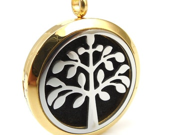 Essential Oil Diffuser Necklace - Tree of Life two tone