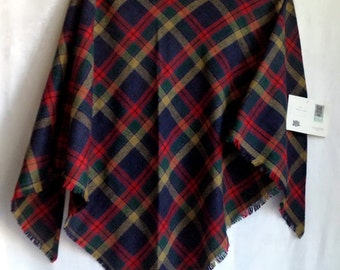 Branigan Weavers NOS Wool Plaid Scarf Shawl Fringe Ireland Irish Cape New with Tags Red Mustard Woven Large Check Classic Wrap Kilkenny Gift