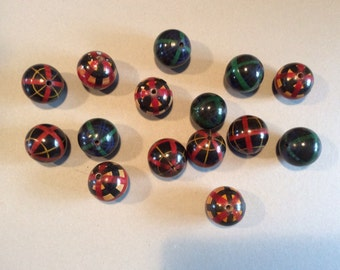 BIG wooden tartan beads -15 of them -3.5 cms across .  C 1920s