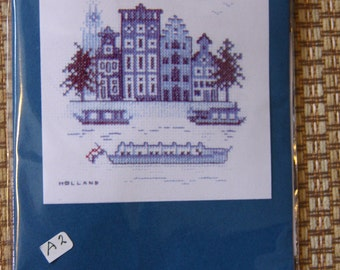Delft blue Canal houses Amsterdam cross stitch kit